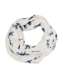 Rayon White and Navy Dino Infinity Scarf