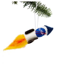 Handcrafted Felted Wool NASA Rocket Ornament