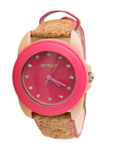 Pink Swarovski Cork Strap Watch