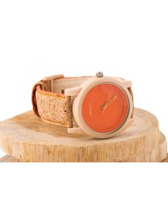 Orange Corn Resin Dial with Cork Strap